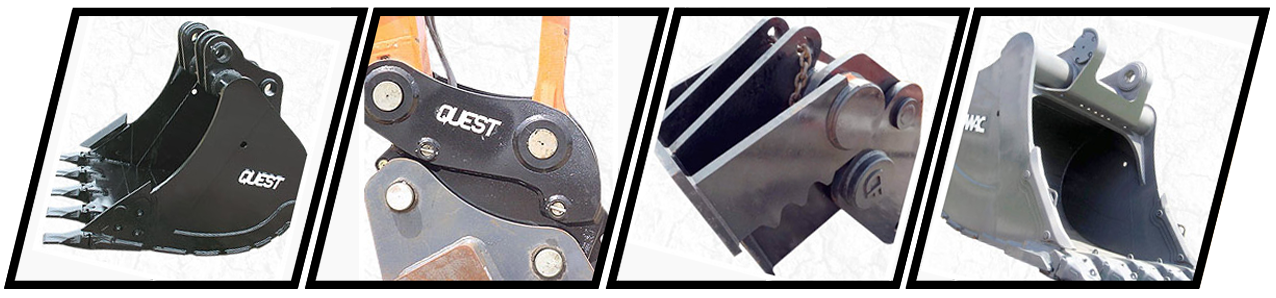 Quest attachments carries a wide range of excavator bucket, clamps/thumbs, and coupler/quick hitch attachments